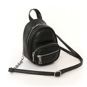 Mini Backpack with long chain crossbody strap